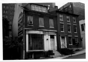 A photo of the buildings from the 1975 Maryland Historical Trust nomination form. Photo from MD State Archives.